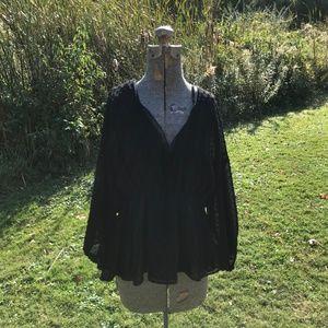 Zara Gothic Swiss Dot Peplum Peasant Blouse